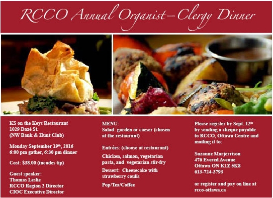 Clergy Organist dinner ad